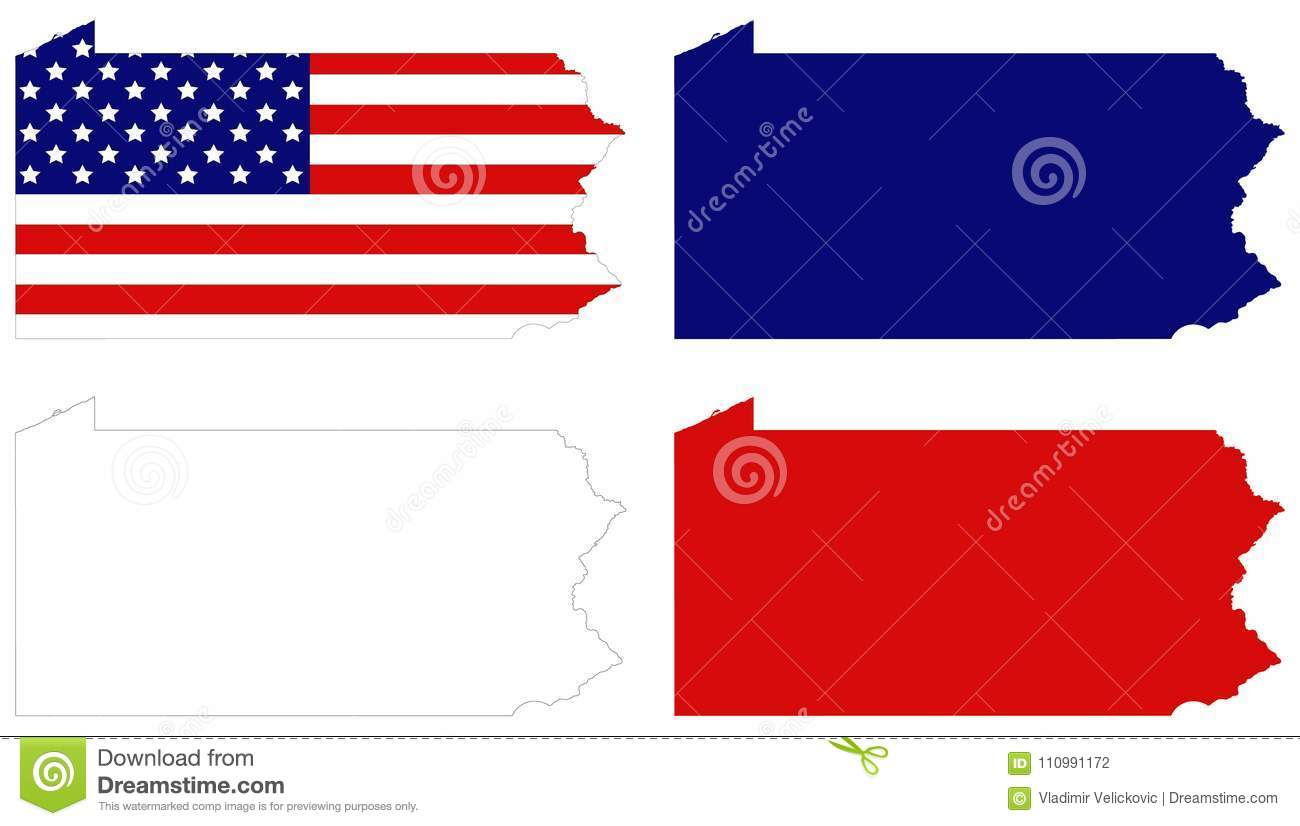 Pennsylvania Map With USA Flag State Located In The Northeastern