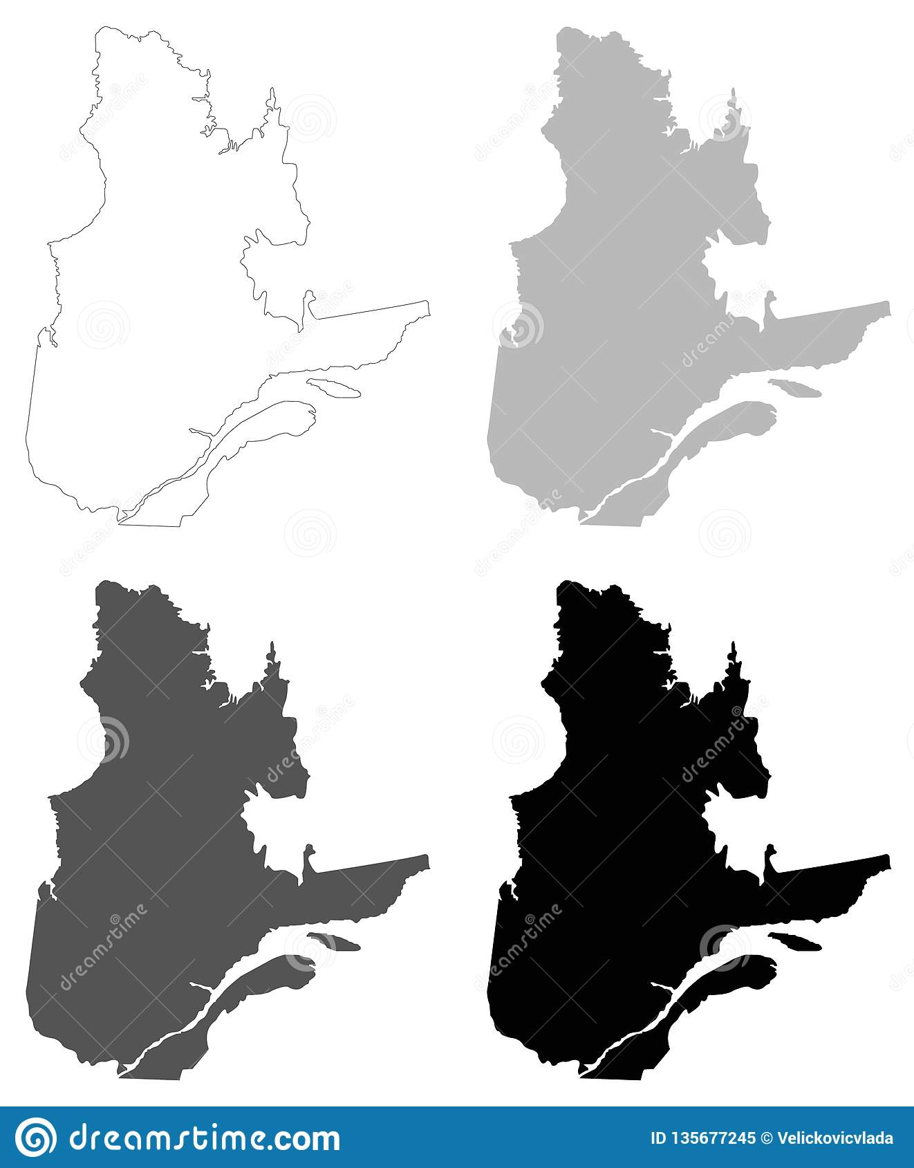 Map Of The Provinces And Territories Of Canada.Quebec Map The Biggest Province And Territory Of Canada Stock