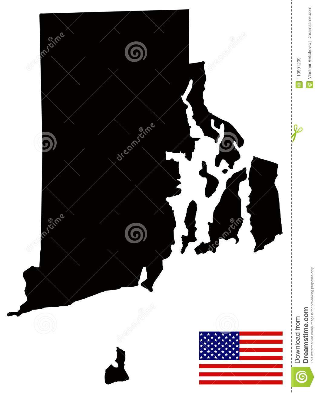 Rhode Island Map With USA Flag - State In The New England Region Of ...