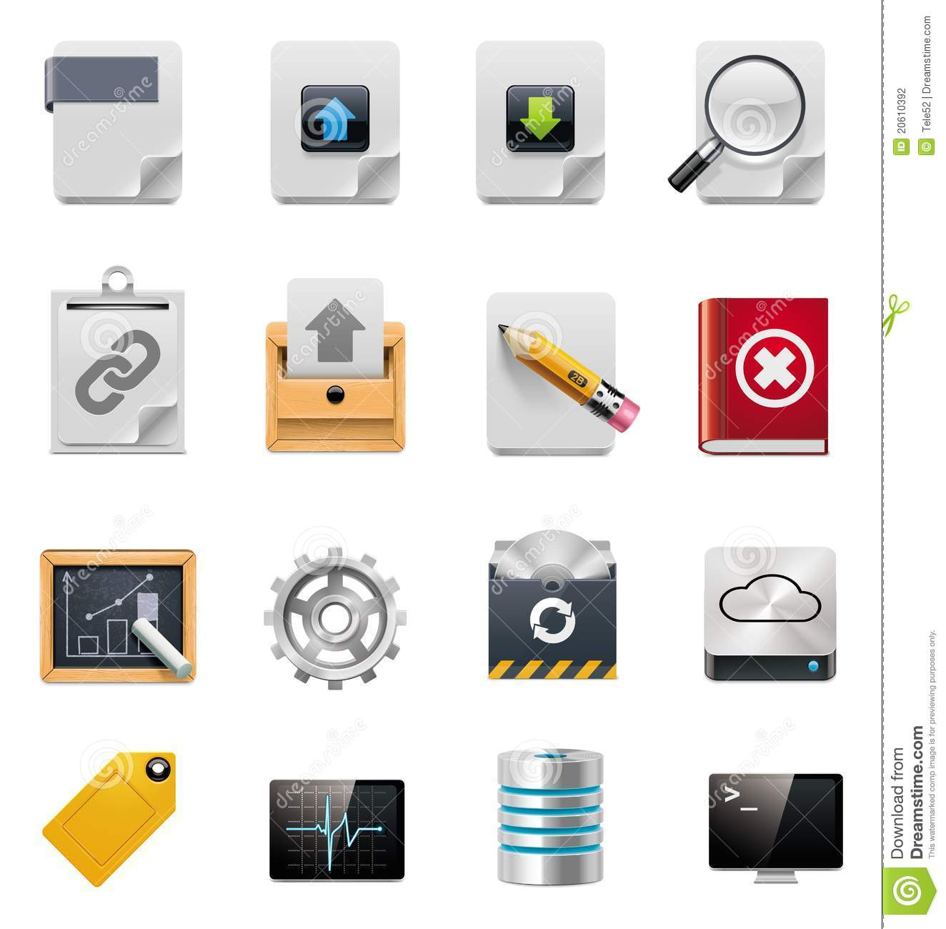 Vector file server administration icon set