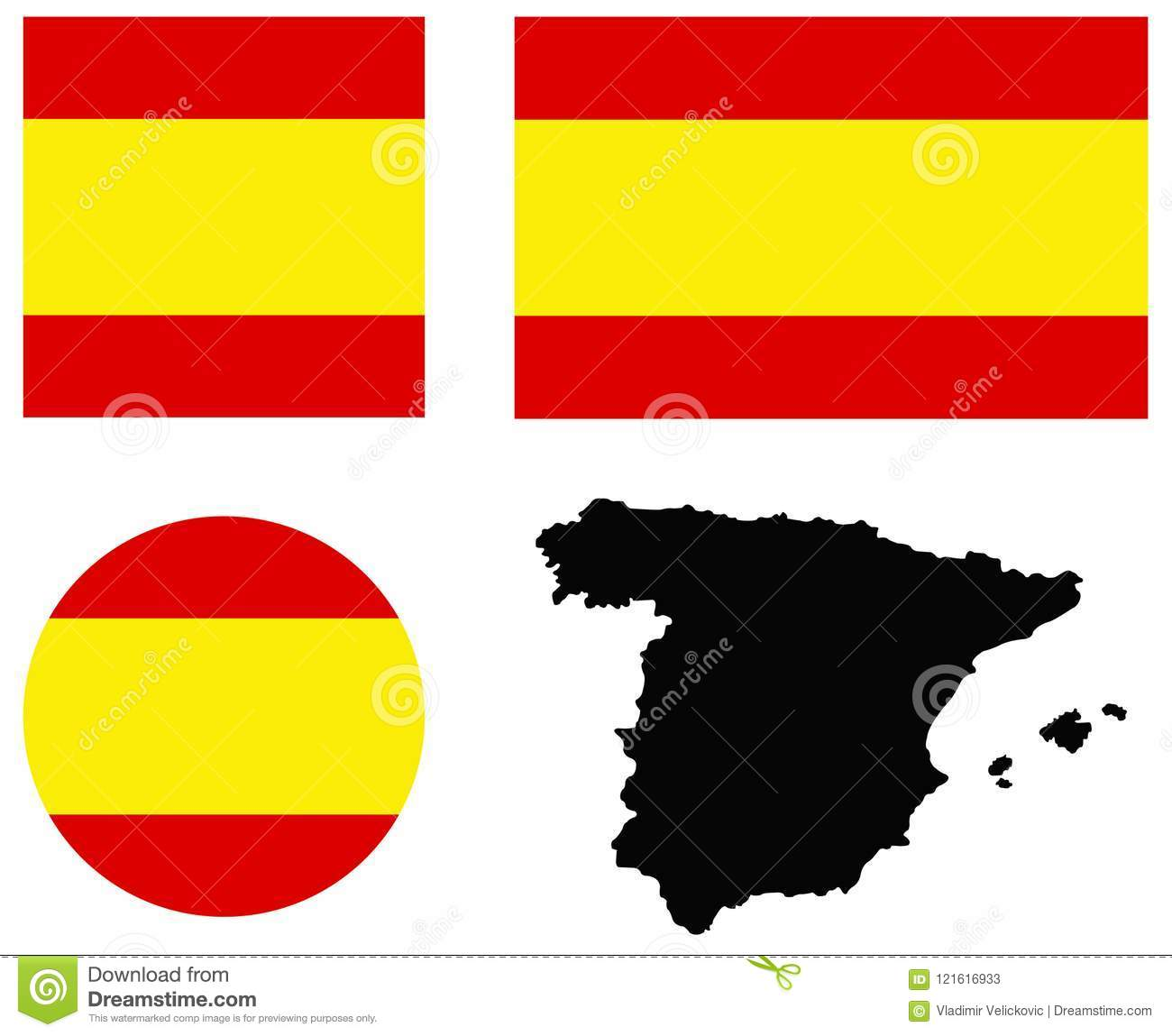 Spain Map And Flag - Sovereign State On The Iberian Peninsula In ...
