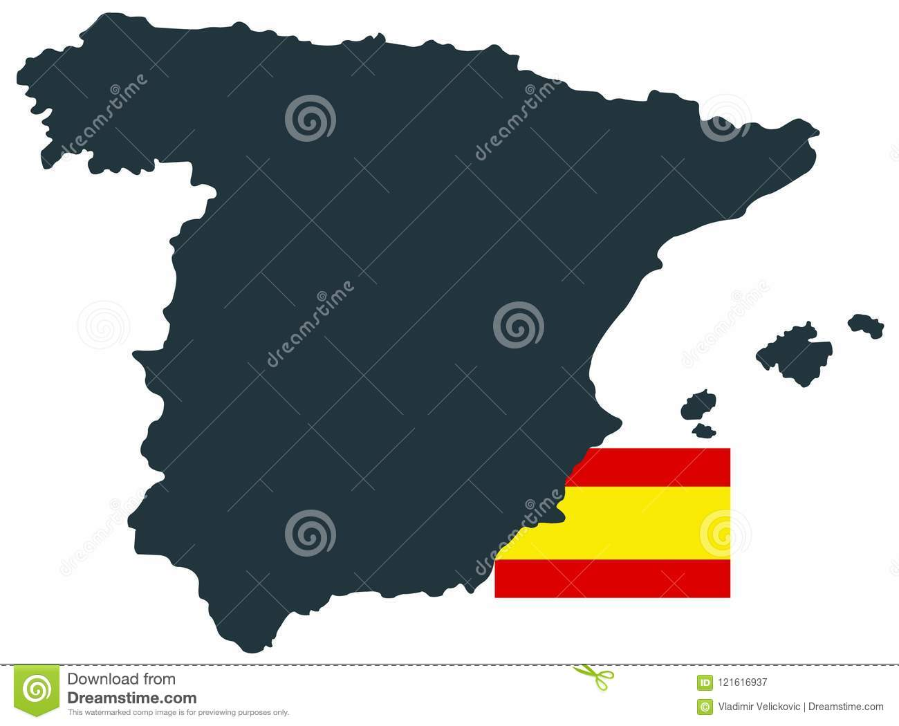 Spain Map And Flag Sovereign State On The Iberian Peninsula In