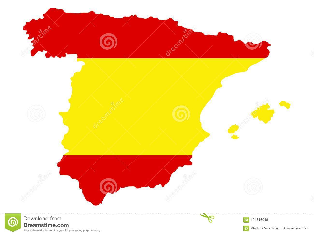 Picture of: Spain Map And Flag Sovereign State On The Iberian Peninsula In Europe Stock Vector Illustration Of Region Flag 121616948