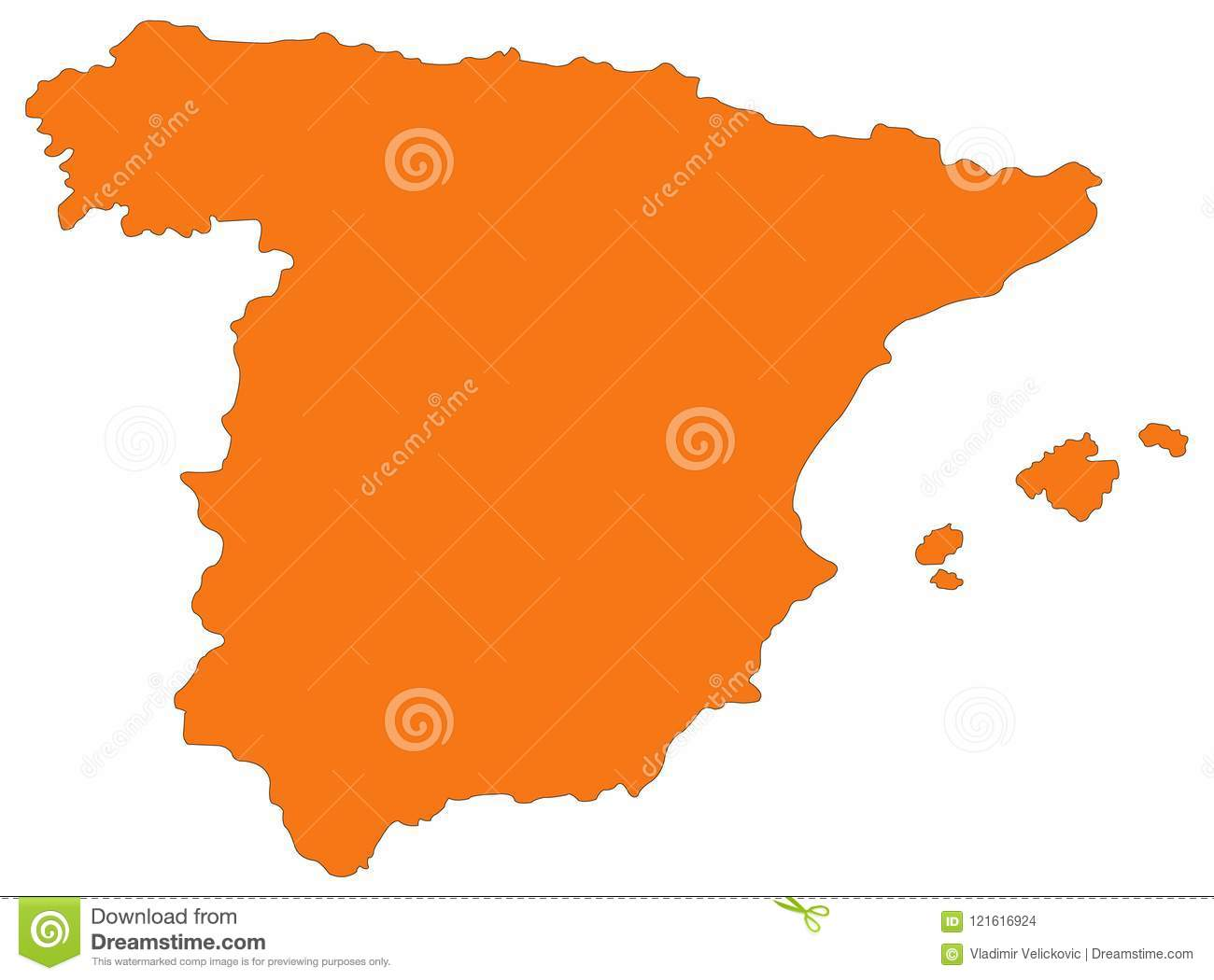 Spain Map Sovereign State On The Iberian Peninsula In Europe Stock