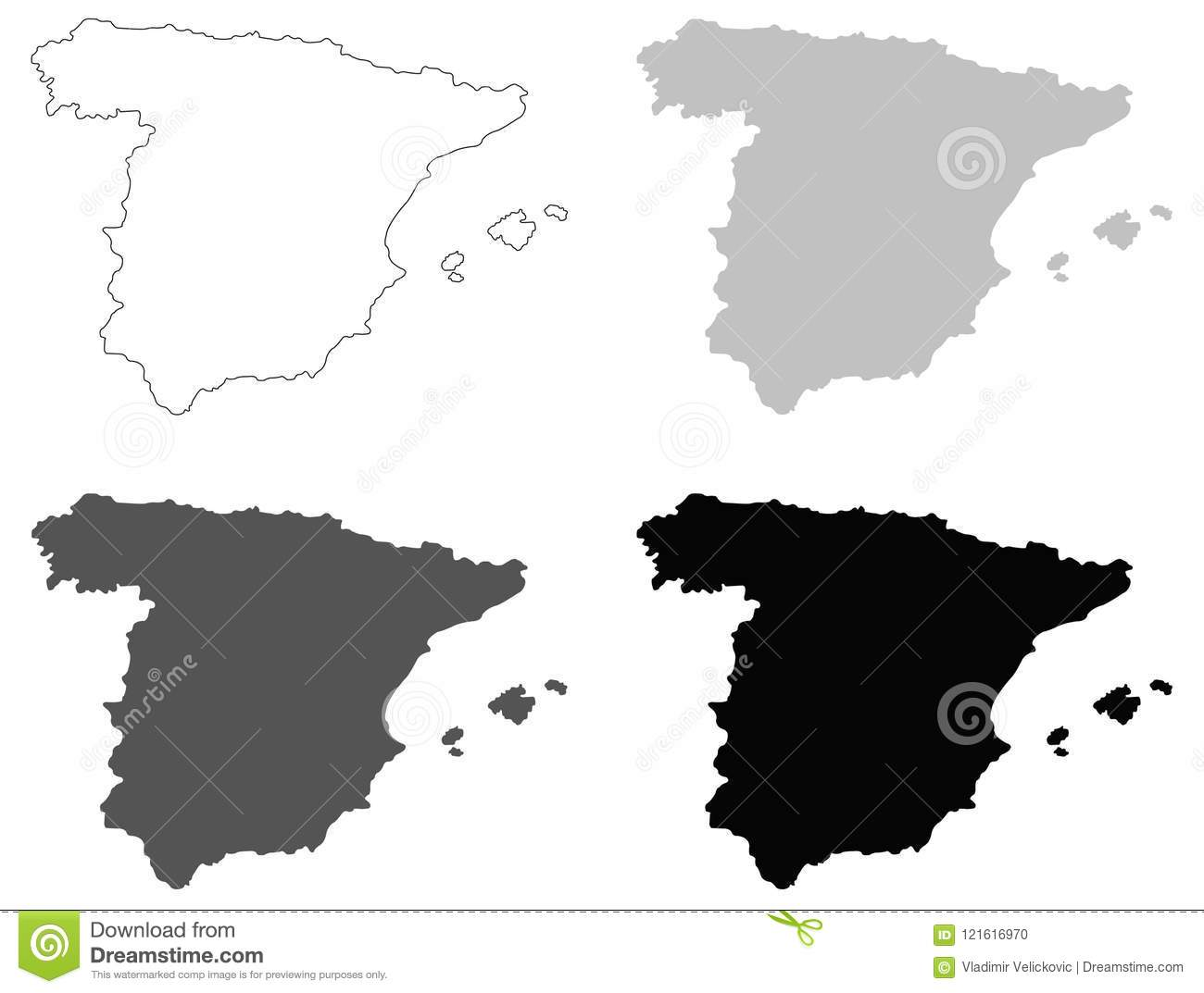 Spain Map - Sovereign State On The Iberian Peninsula In ...