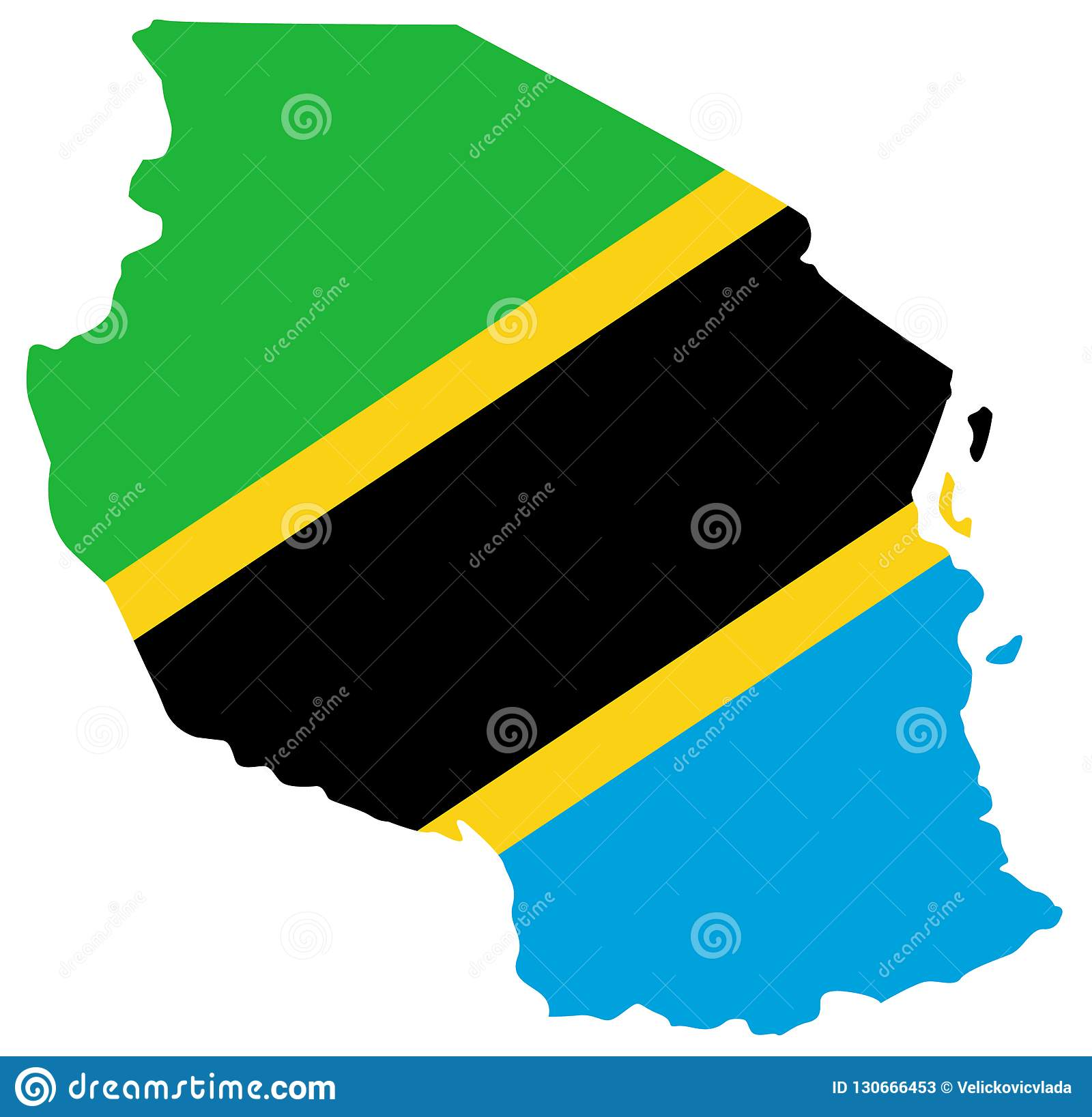 Tanzania On Africa Map.Tanzania Flag And Map Country In Eastern Africa Within The African