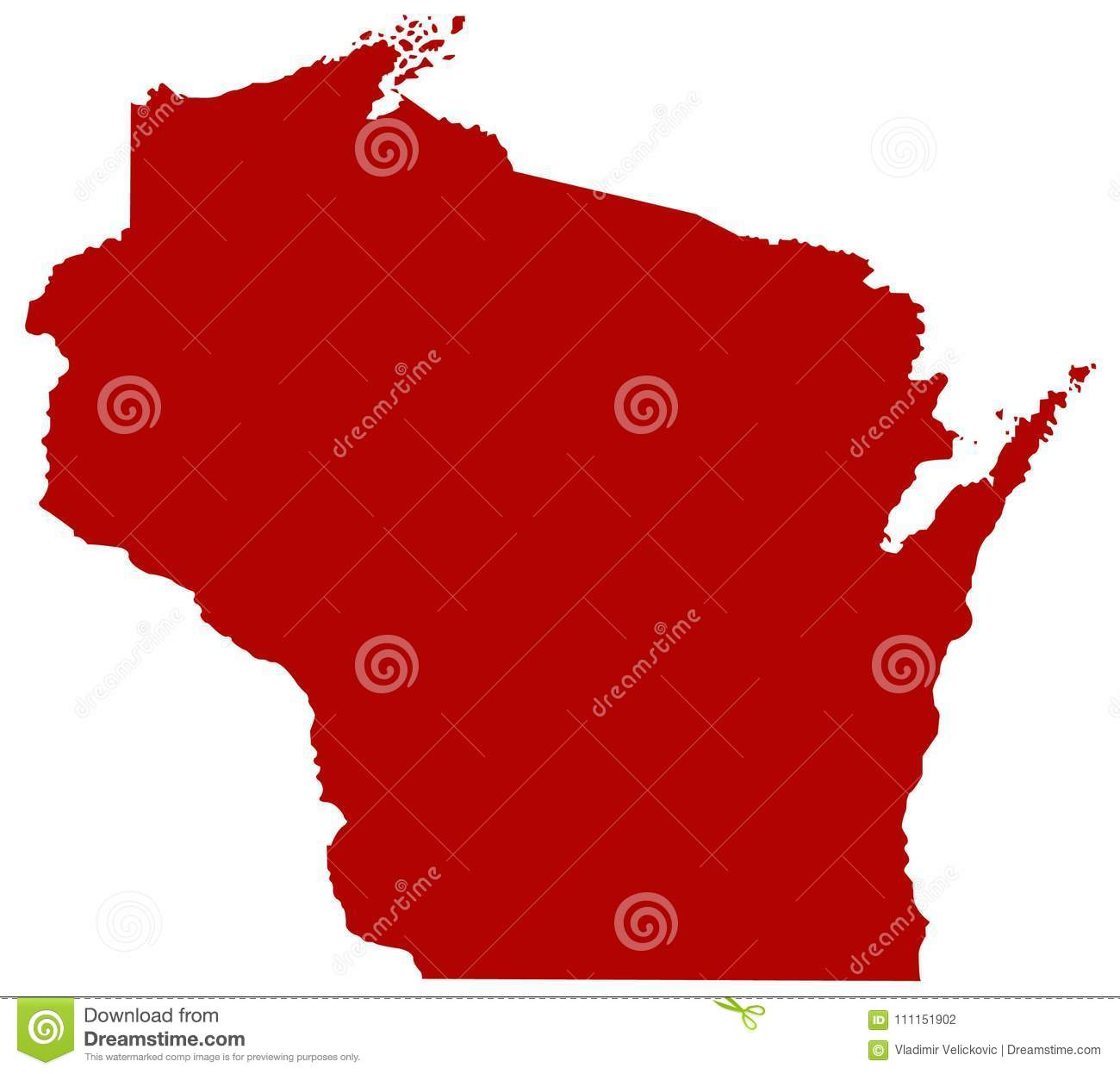 North Central Us Map.Wisconsin Map State In The North Central United States Stock
