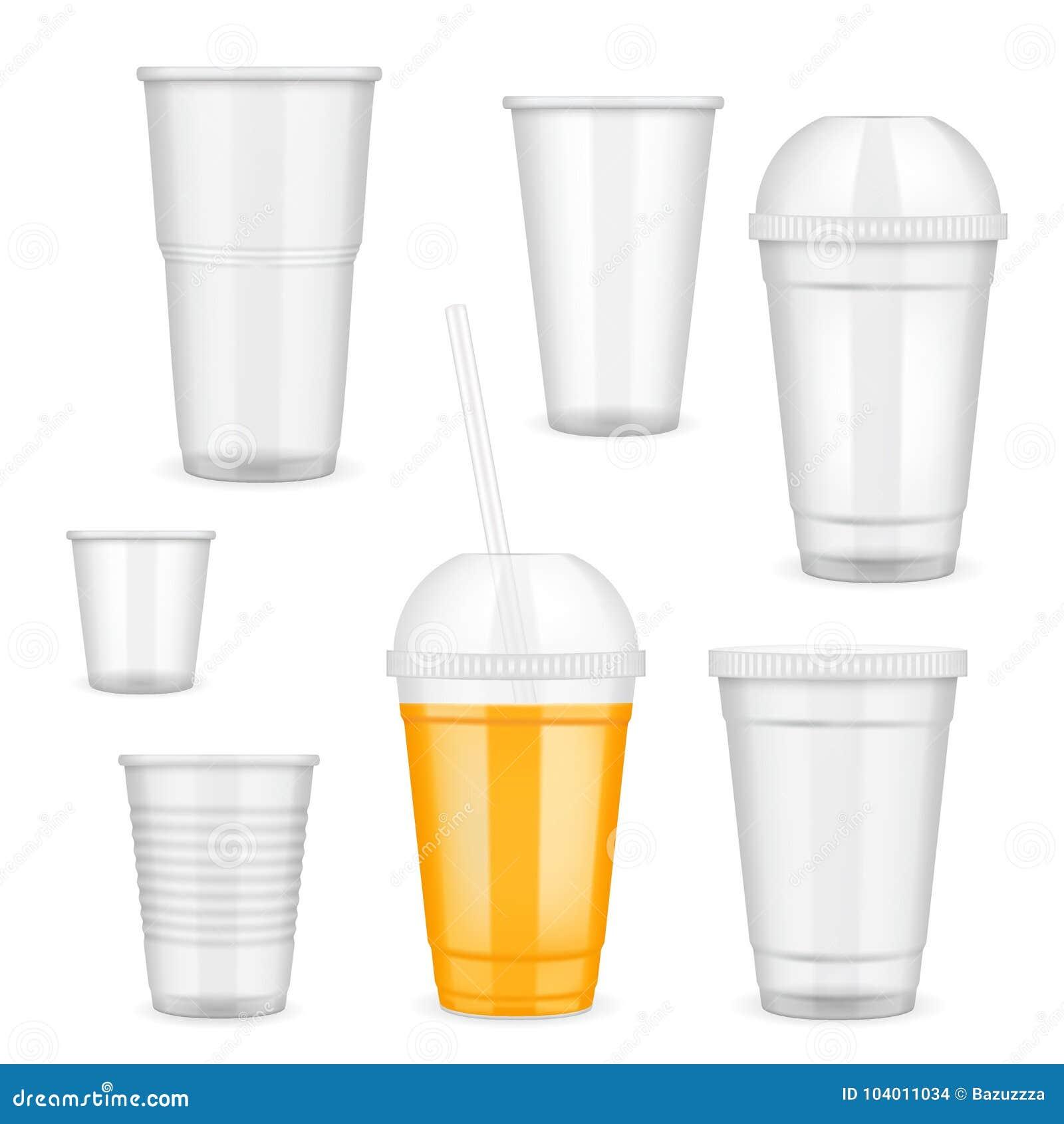 Vector Realistic Transparent Disposable Plastic Cup Set Stock