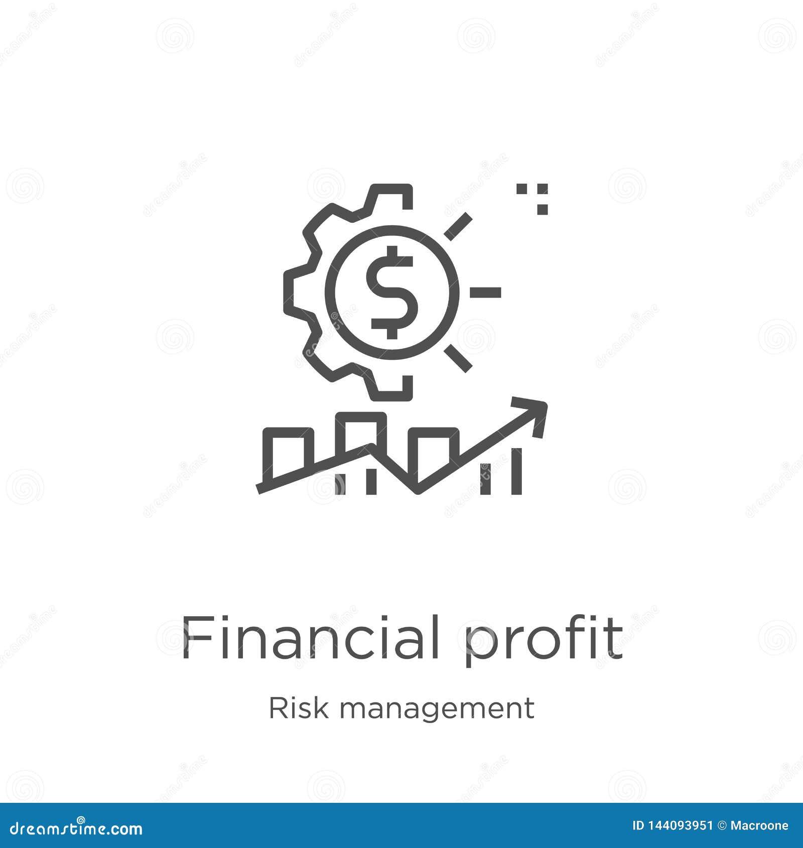 Vector financiero del icono del beneficio de la colección de la gestión de riesgos Línea fina ejemplo financiero del vector del i
