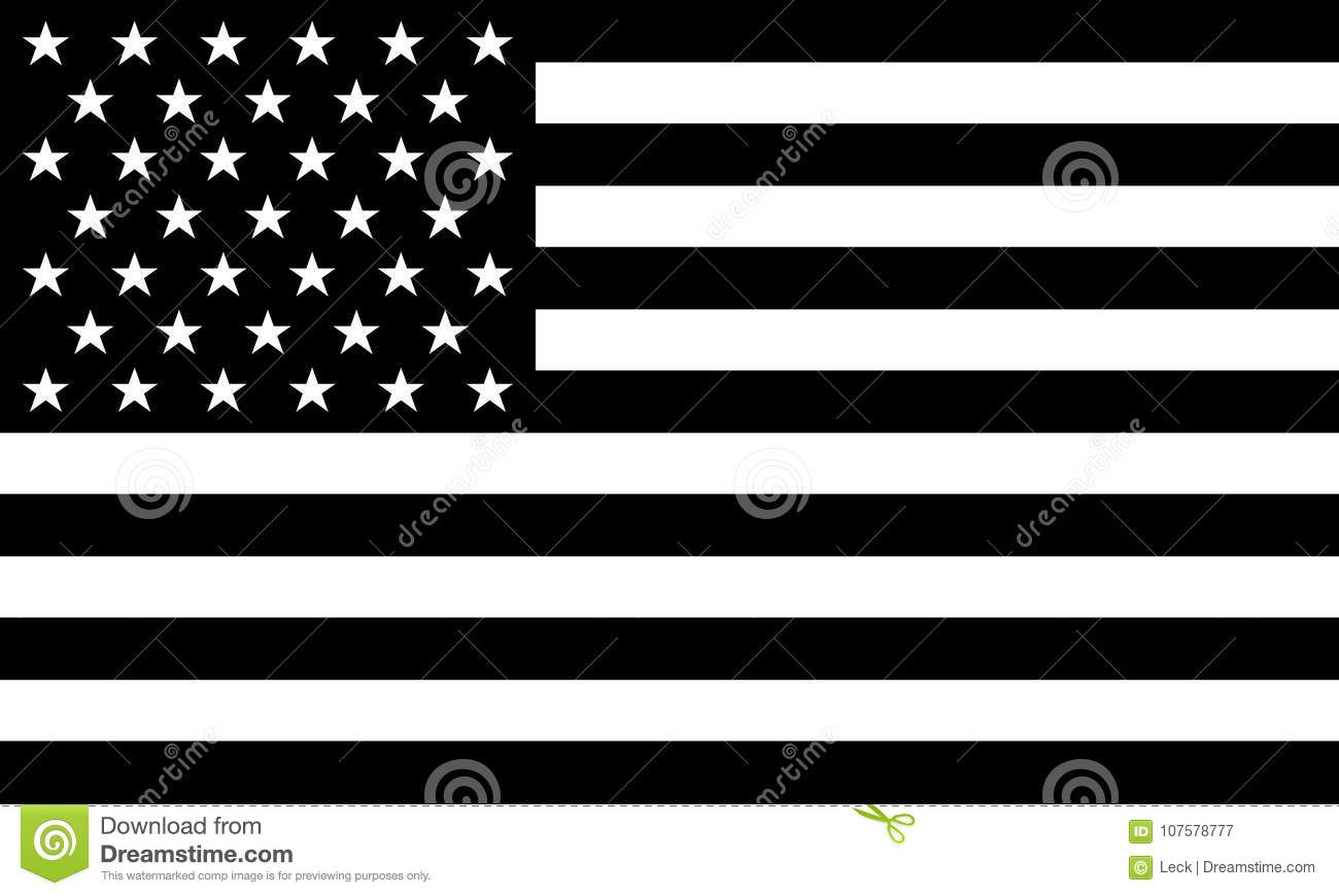 Download AMERICAN FLAG Black And White Vector Stock