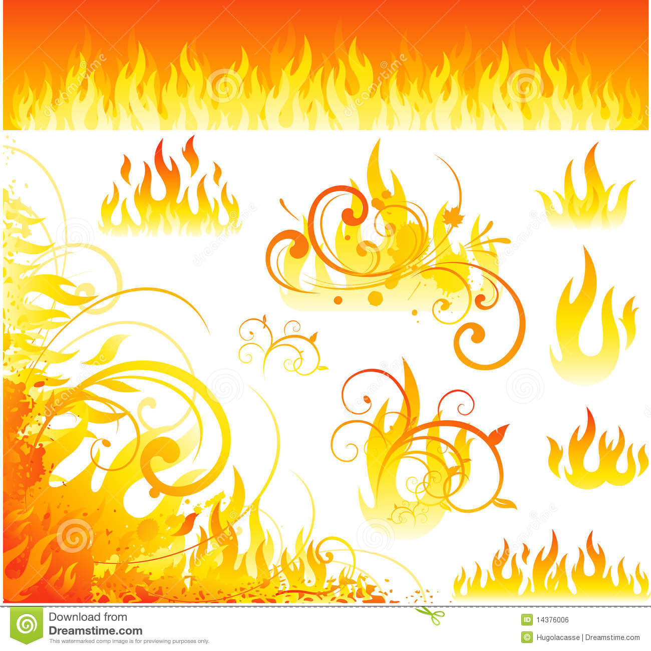 Vector Fire Designs Royalty Free Stock Image - Image: 14376006