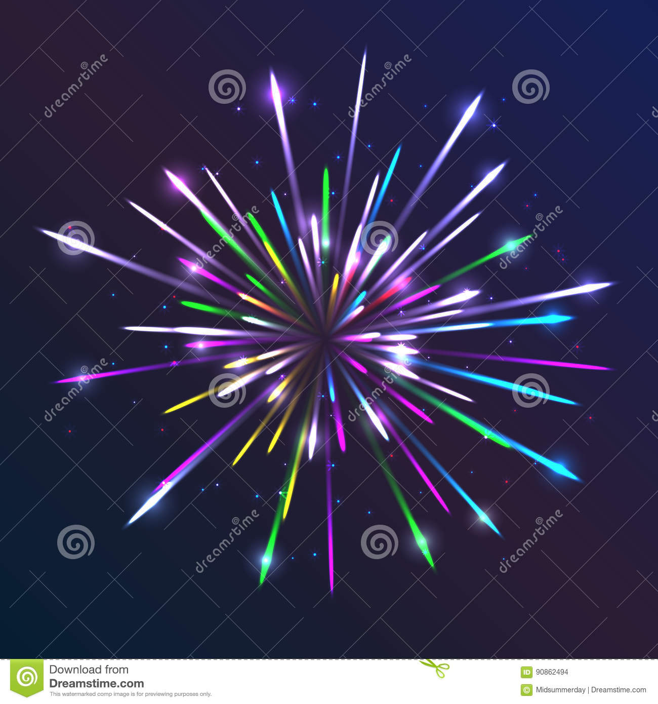 vector fireworks abstract background with bright lines and