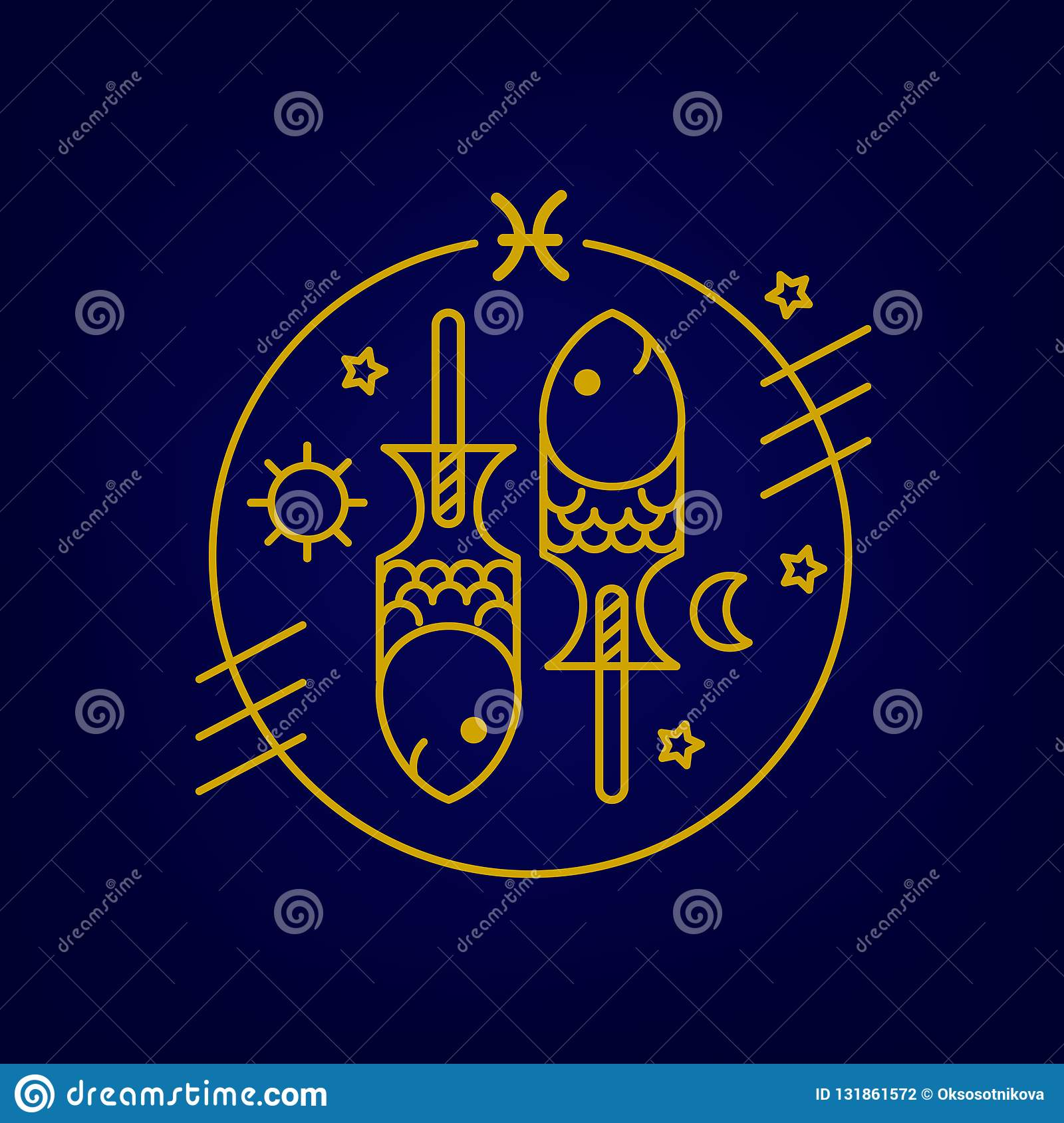 Vector Fish Or Pisces Zodiac Sign, Logo Or Illustration