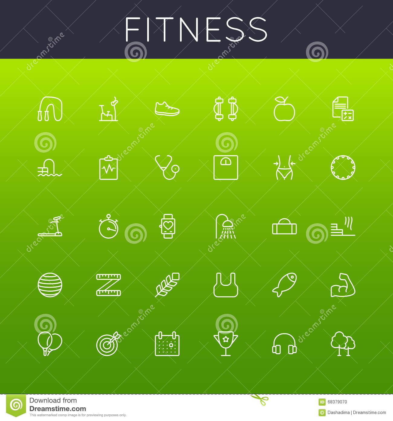 Vector Fitness Line Icons