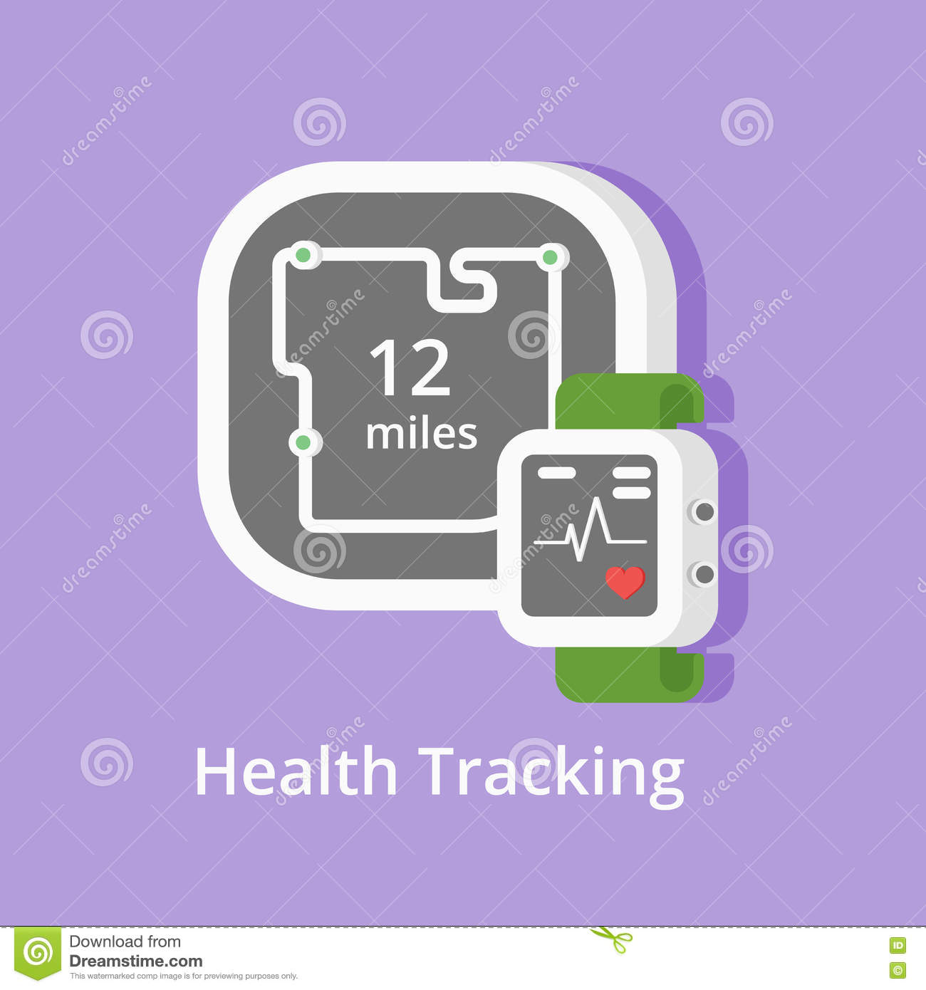 vector fitness tracker icon showing health condition and miles with