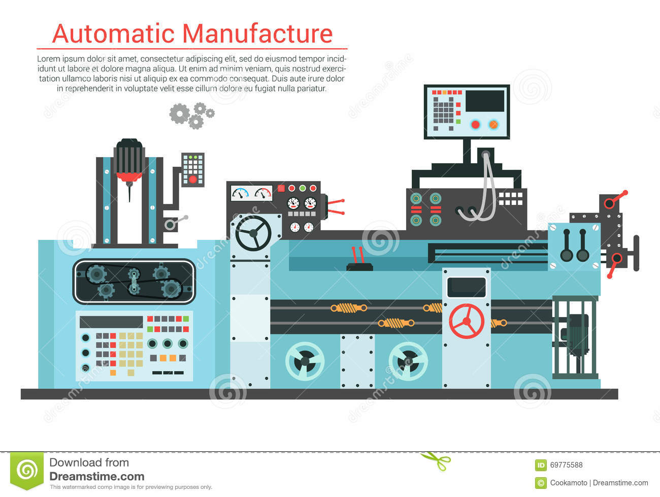 Vector Flache Illustration Der Komplexen Technikmaschine Mit Pumpe ...