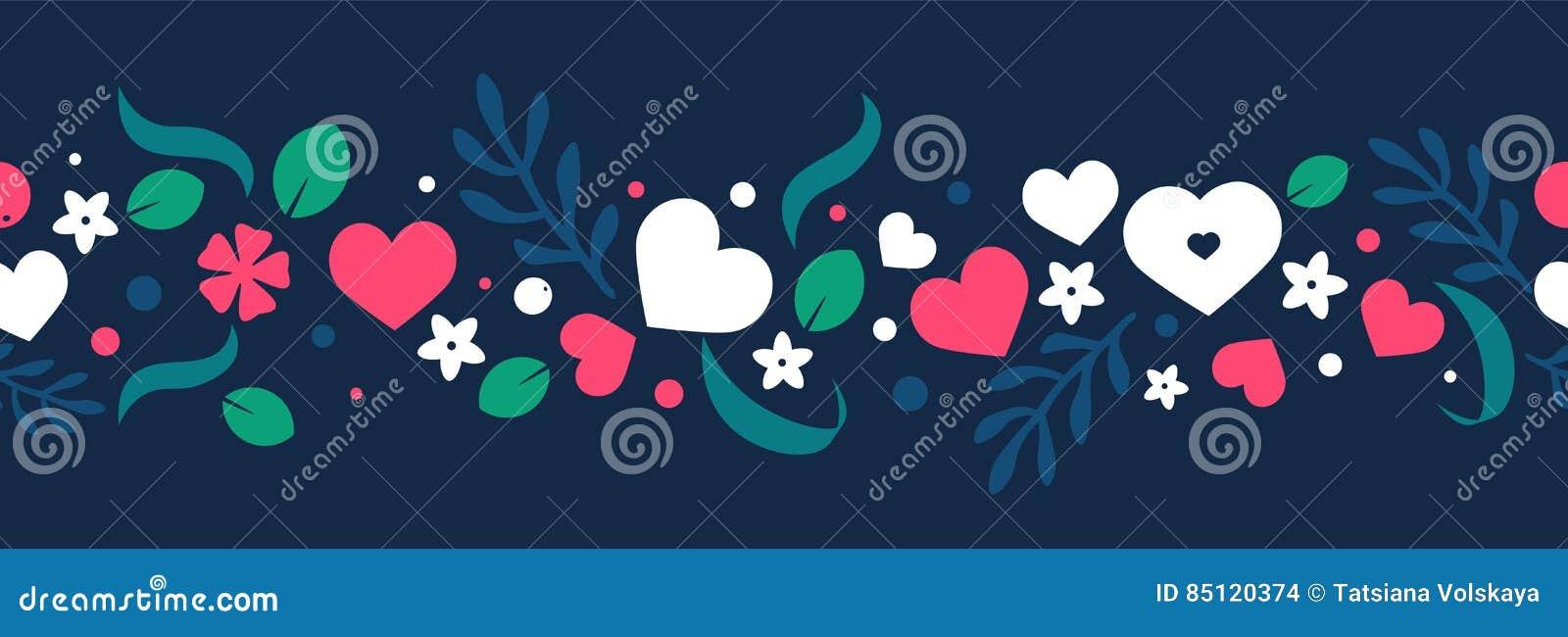 Vector flachen Hintergrund, nahtloses Musterdesign mit Herzen