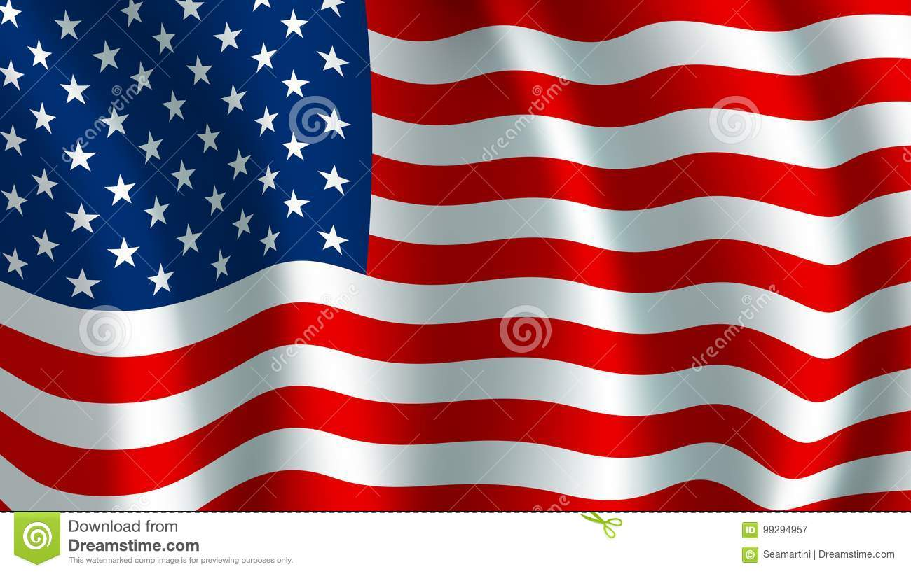 c1631ecd3aaa USA America flag. Vector US american united states country official  national flag waving with curved fabric or waves texture of stars and red  white ...