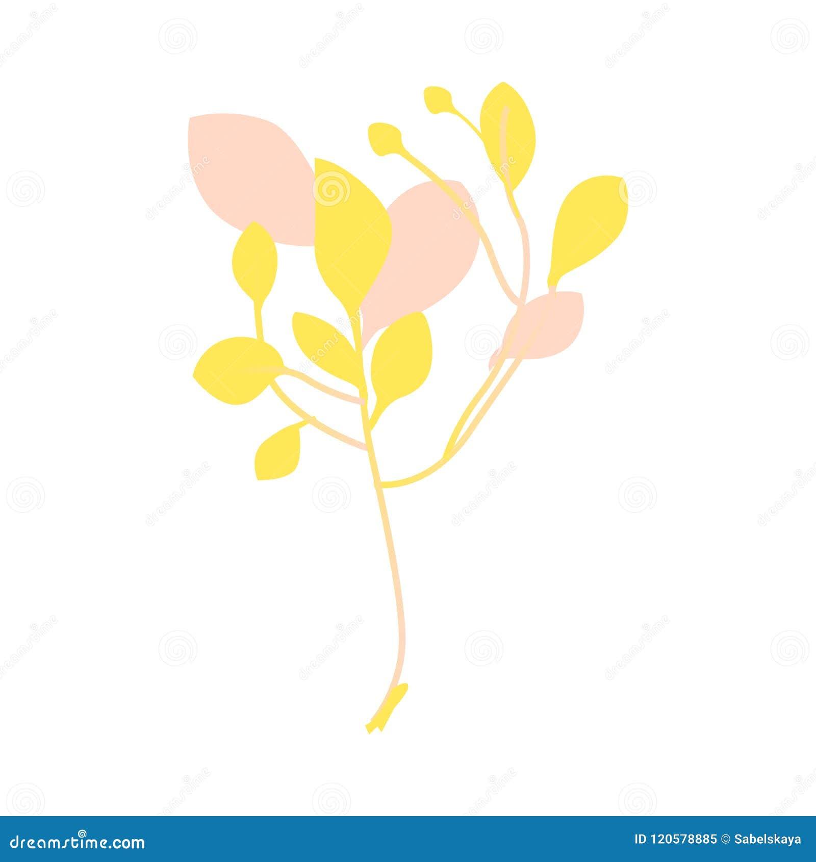 Vector Flat Abstract Autumn Plant Icon Stock Vector Illustration