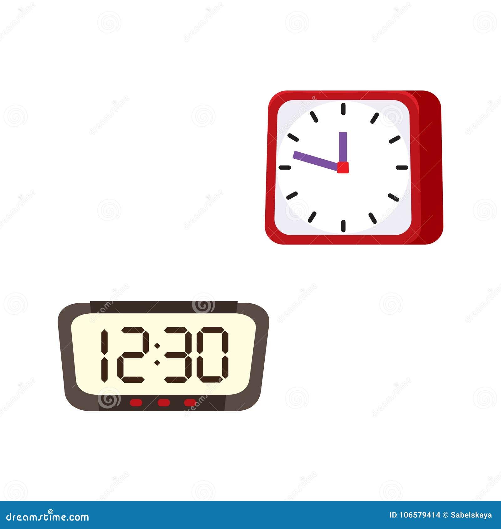 Vector Flat Analog Digital Table Clock Icon Stock Vector Illustration Of Data Dial 106579414