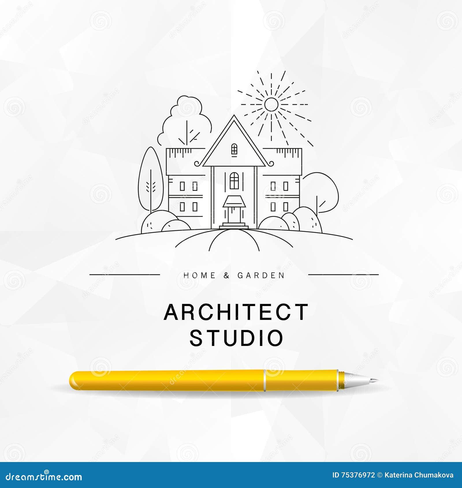 Vector flat architect studio logo design on white for Architecture studio design company
