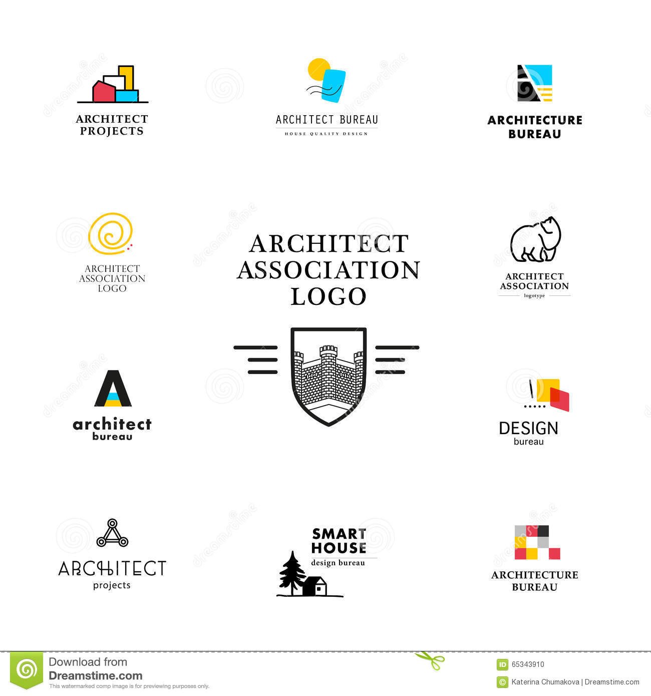 Elegant Vector Flat Architecture Company Logo Collection. Stock Vector    Illustration Of Architect, Corporate: 65343910