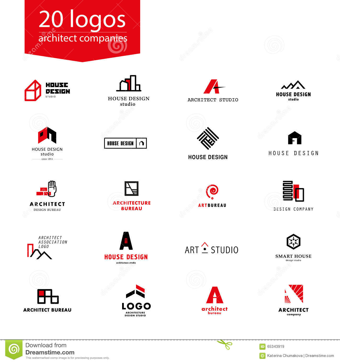 Vector flat architecture company logo collection stock for Architecture design company