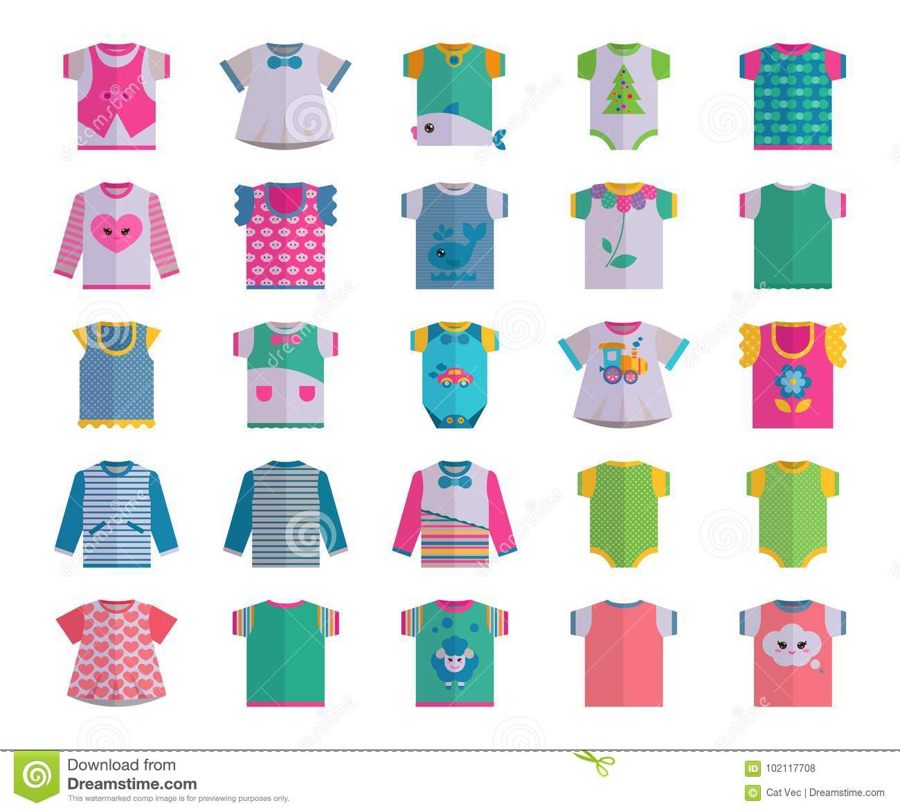 Vector flat baby infant clothes textile icon set design casual fabric colorful dress child garment wear illustration t