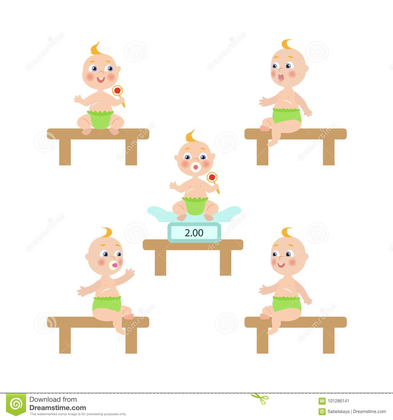 Vector Flat Baby Infant With Nipple And Diaper Set Stock Vector