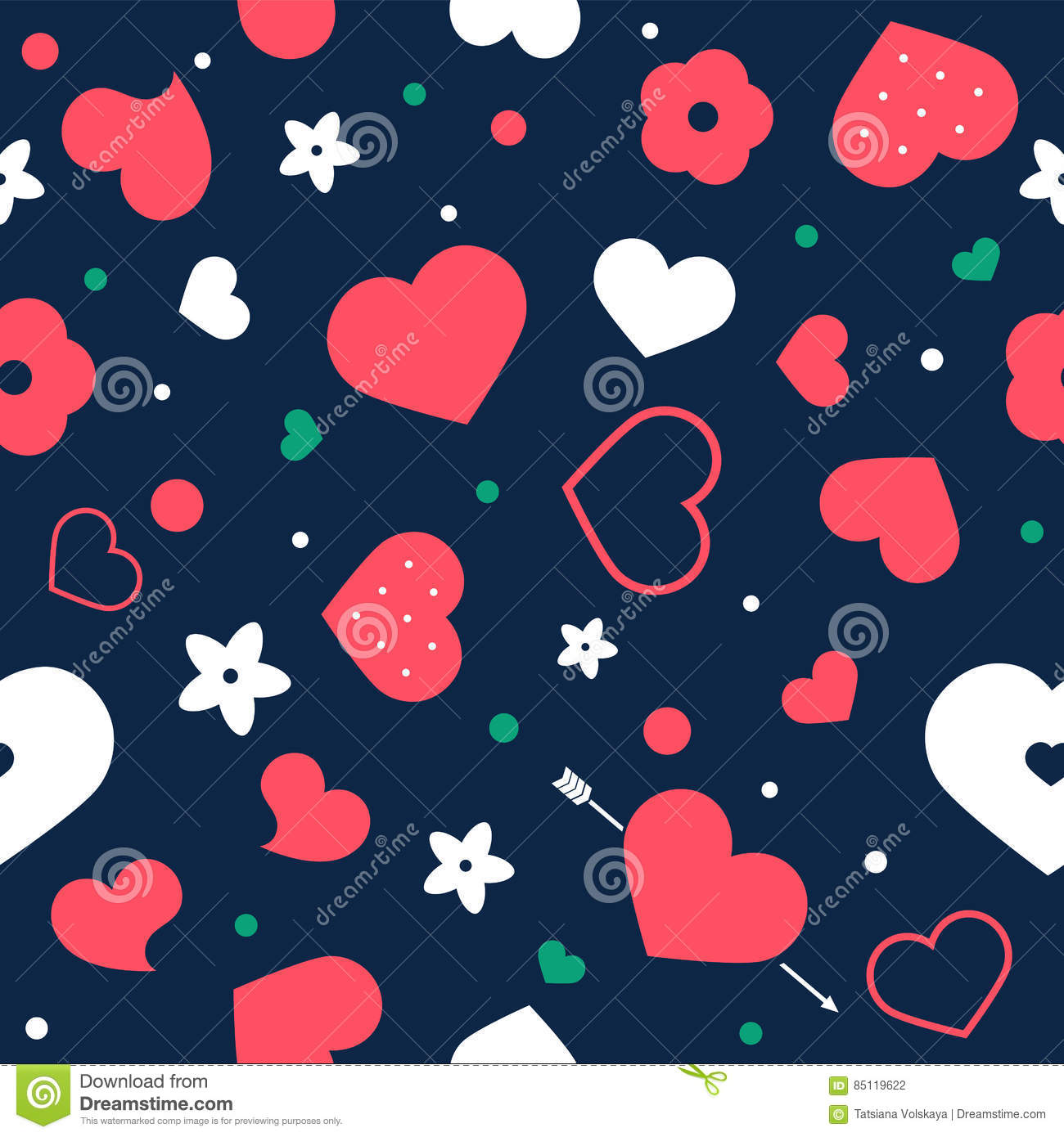 Vector flat background, seamless pattern design with hearts.