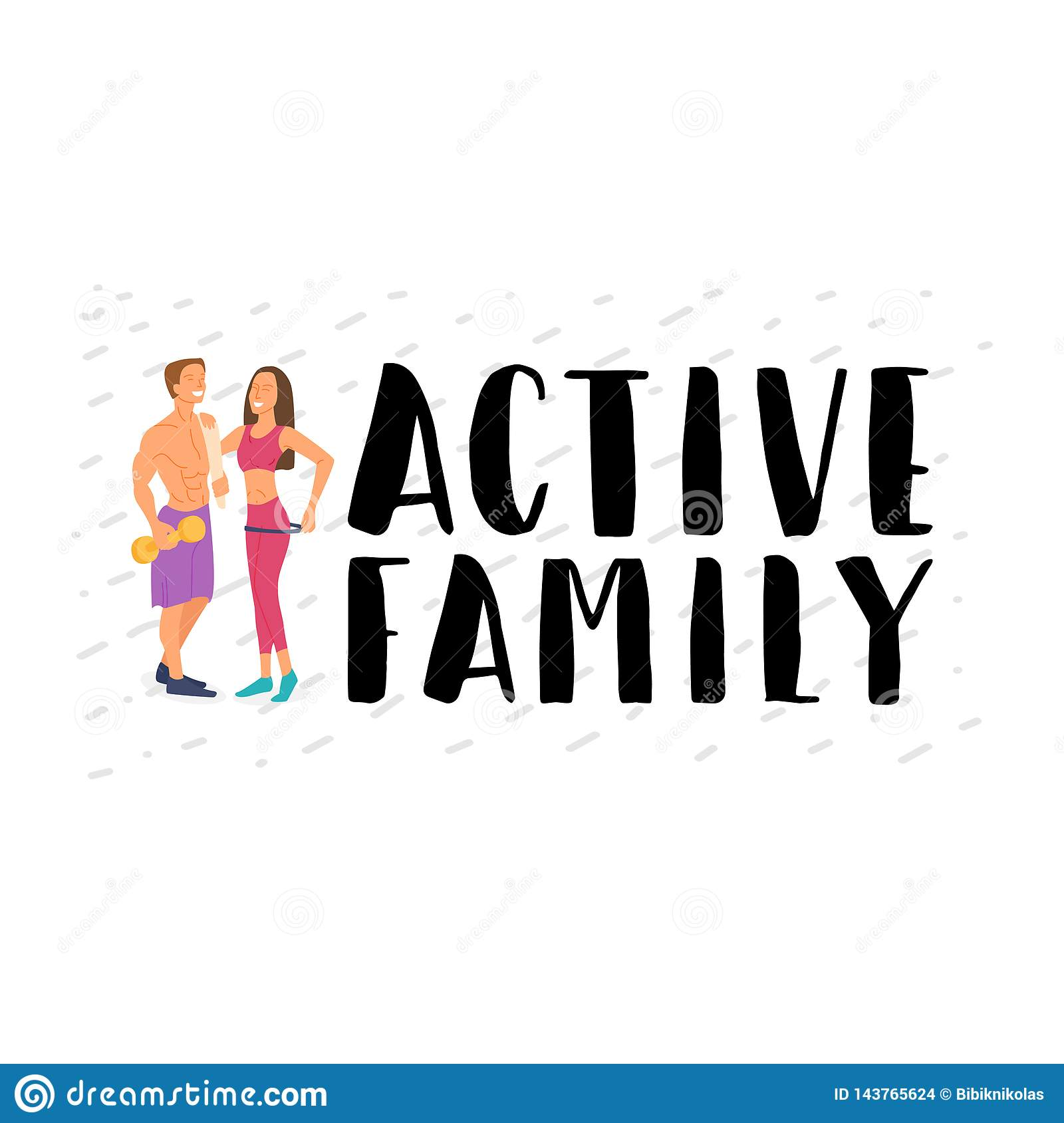 Fitness young energetic family involved in sports