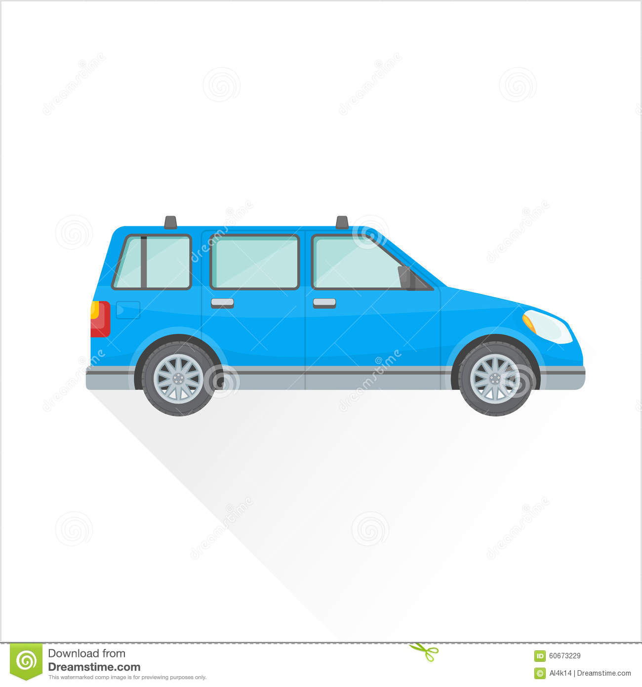 Vector flat blue wagon car body style illustration icon for Station wagon coloring pages