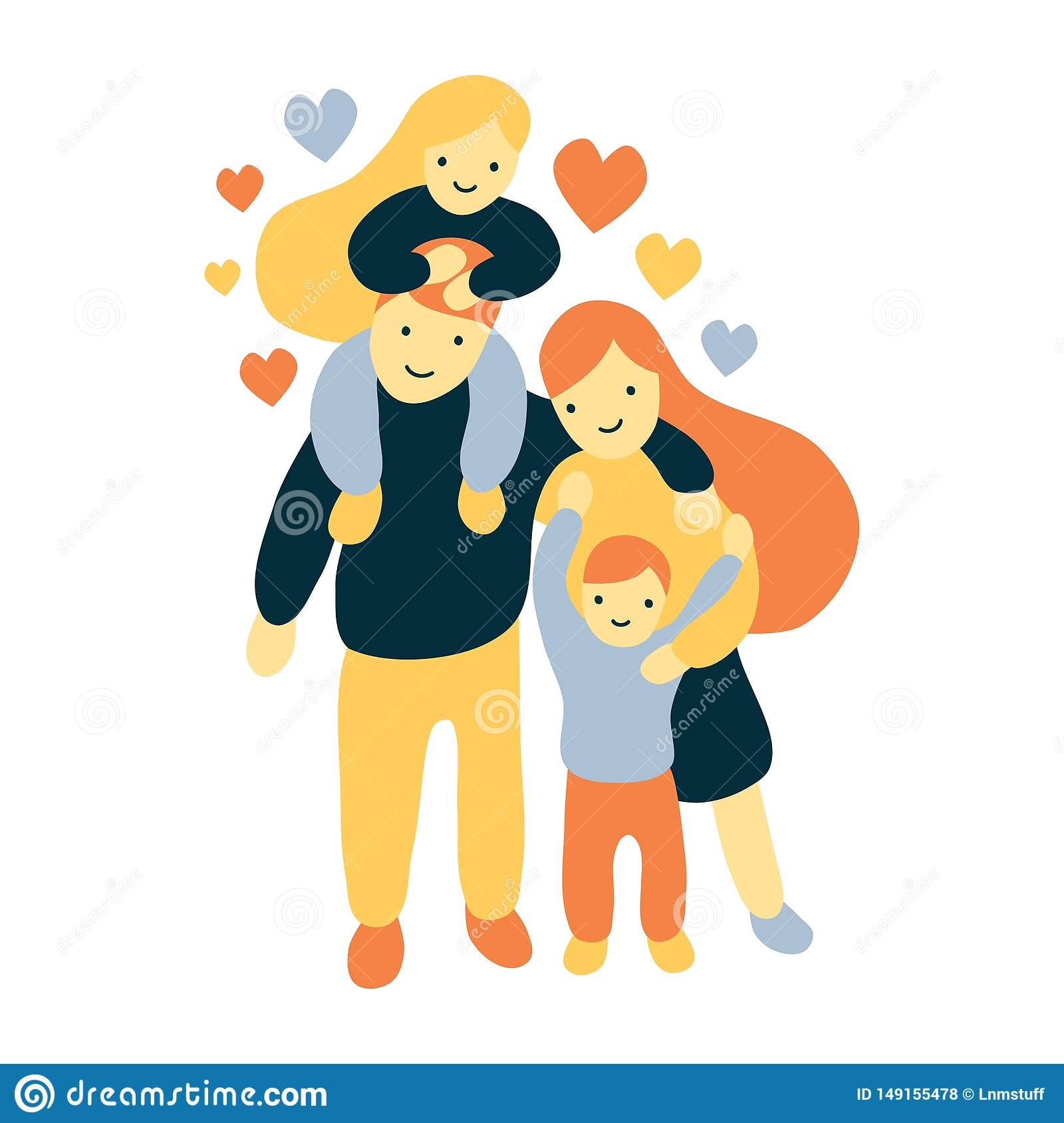Vector flat and bold style illustration of a four members joyful and happy family