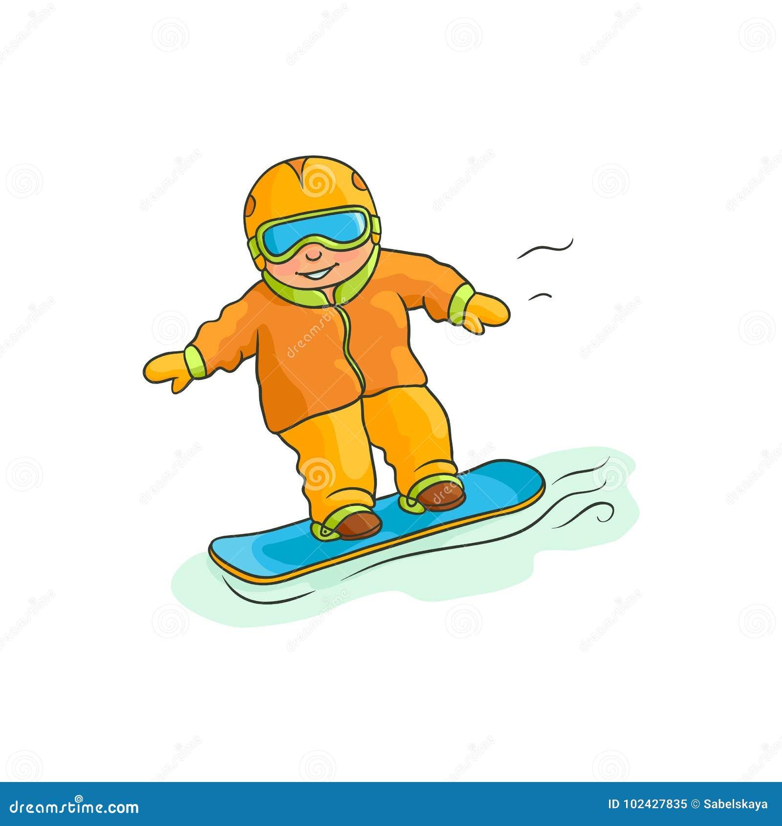 Vector Flat Boy Teen Kid Snowboarding Stock Vector Illustration Of Flat Cartoon 102427835