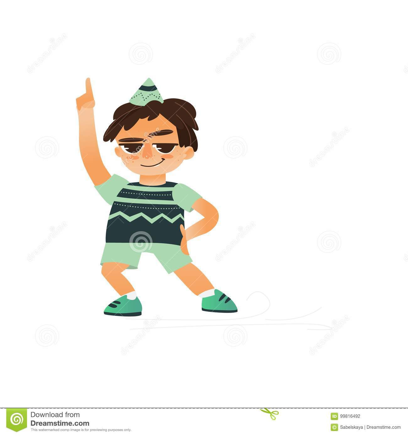 Vector flat cartoon boy child dancing alone in green clothing and party hat smiling little dancer male character isolated illustration on a white