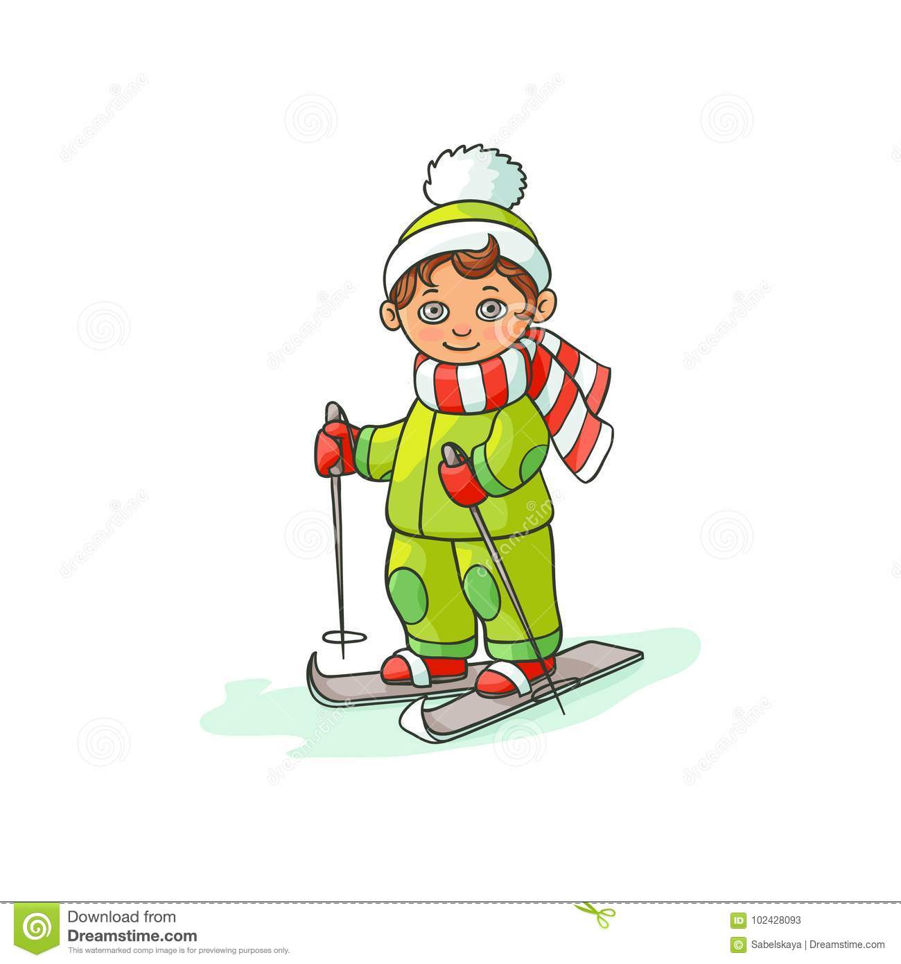 07670c1f9d Vector flat cartoon teen boy kid having fun skiing in winter outdoor  clothing and funny hat and scarf. Isolated illustration on a white  background.