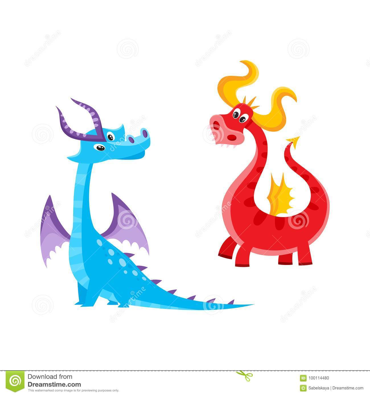 Vector flat cartoon funny blue, marine and red fire adult, mature dragons  with horns and wings. Isolated illustration on a white background.