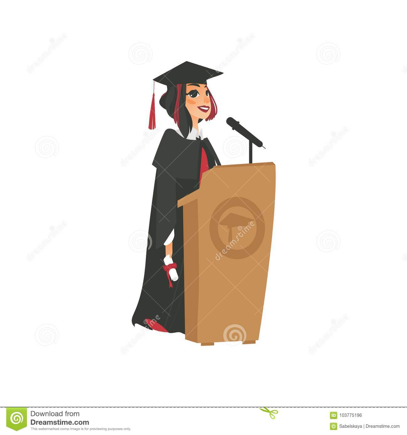 Vector Flat Girl Graduate In Gown, Cap Stock Vector - Illustration ...
