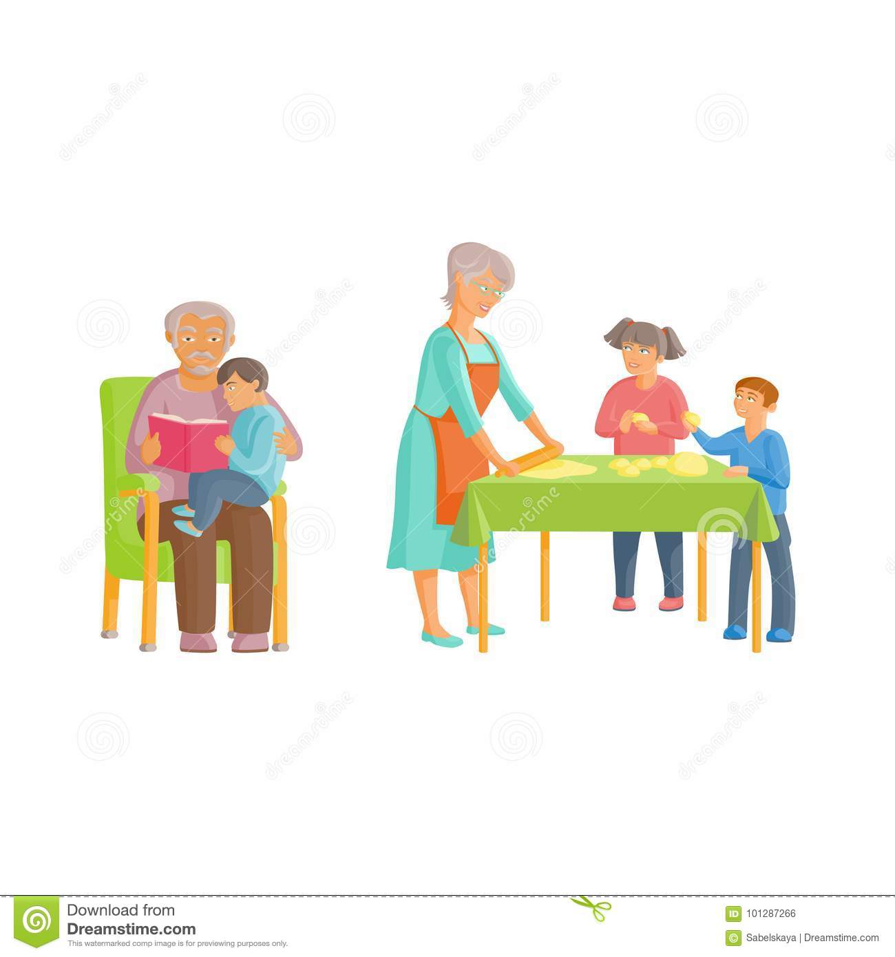Brilliant Vector Flat Cartoon Grandparents And Children Set Stock Gmtry Best Dining Table And Chair Ideas Images Gmtryco