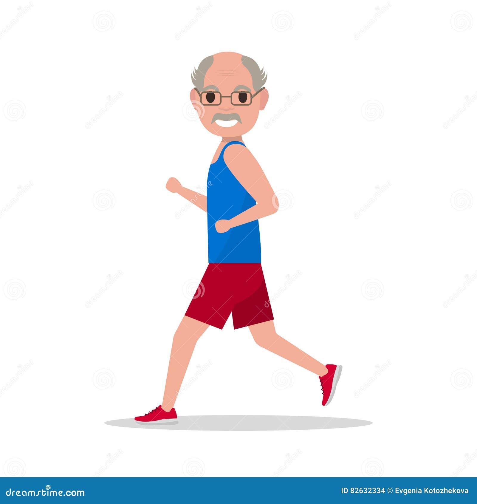 Old man running cartoon