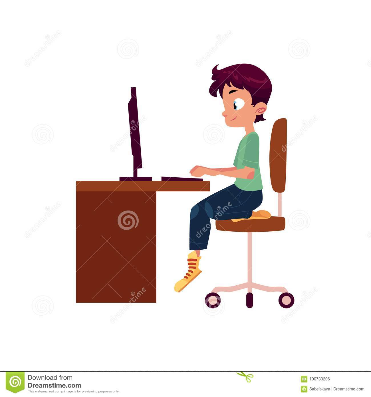 Vector flat cartoon teen boy at computer desk