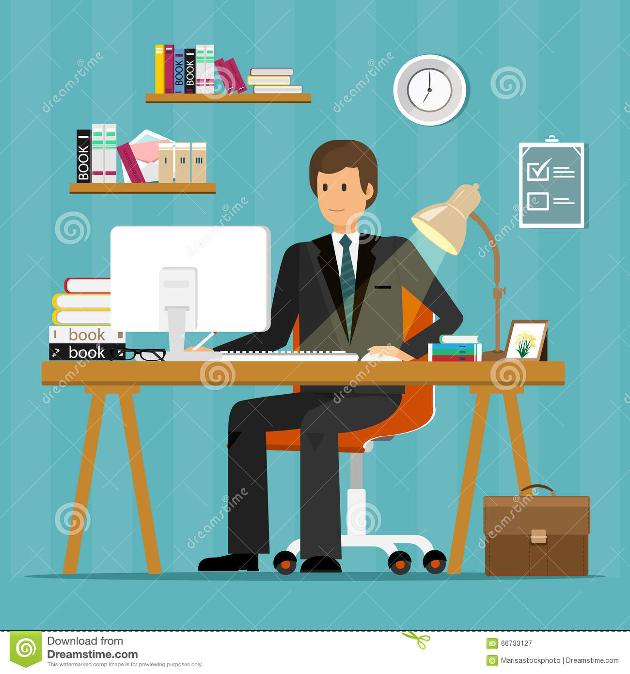 Vector businessman using a mobile tablet with a graph for Office design vector