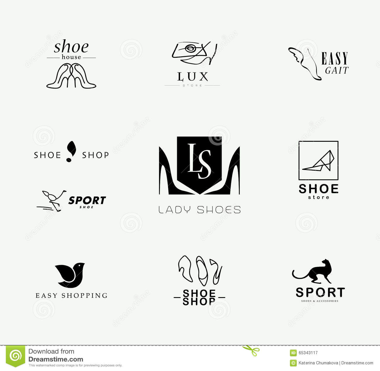 e65e529e38b Vector Flat Collection Of Stylish Modern Shoe Logo For Women