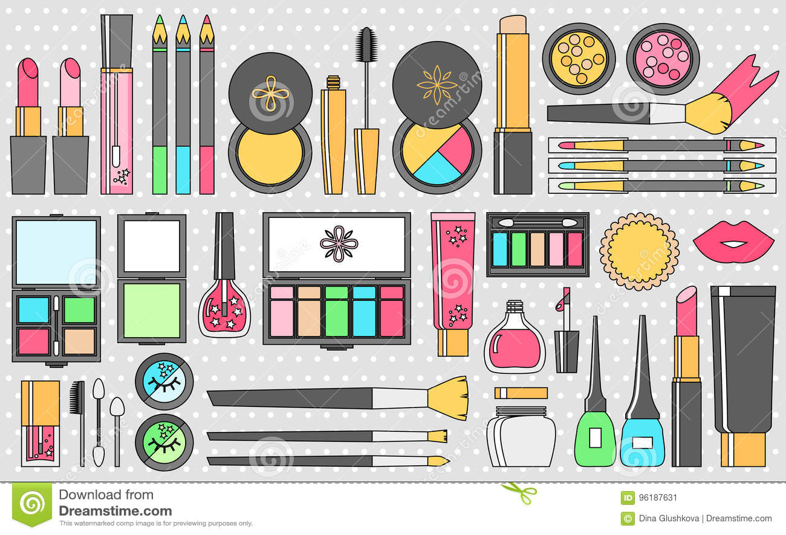 Vector Flat Cosmetics Set Beauty Fashion Products
