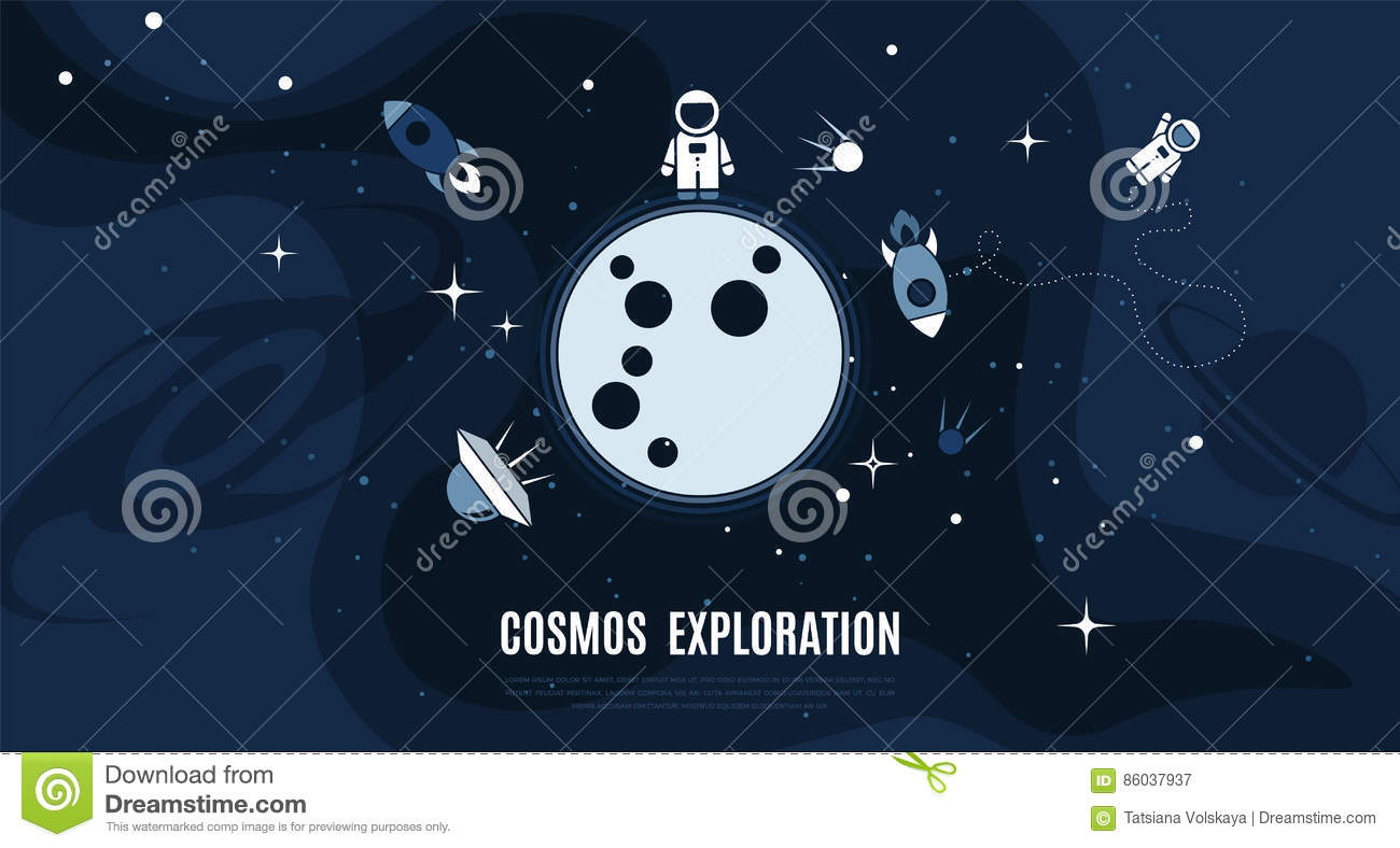 vector flat cosmos design background stock vector illustration of