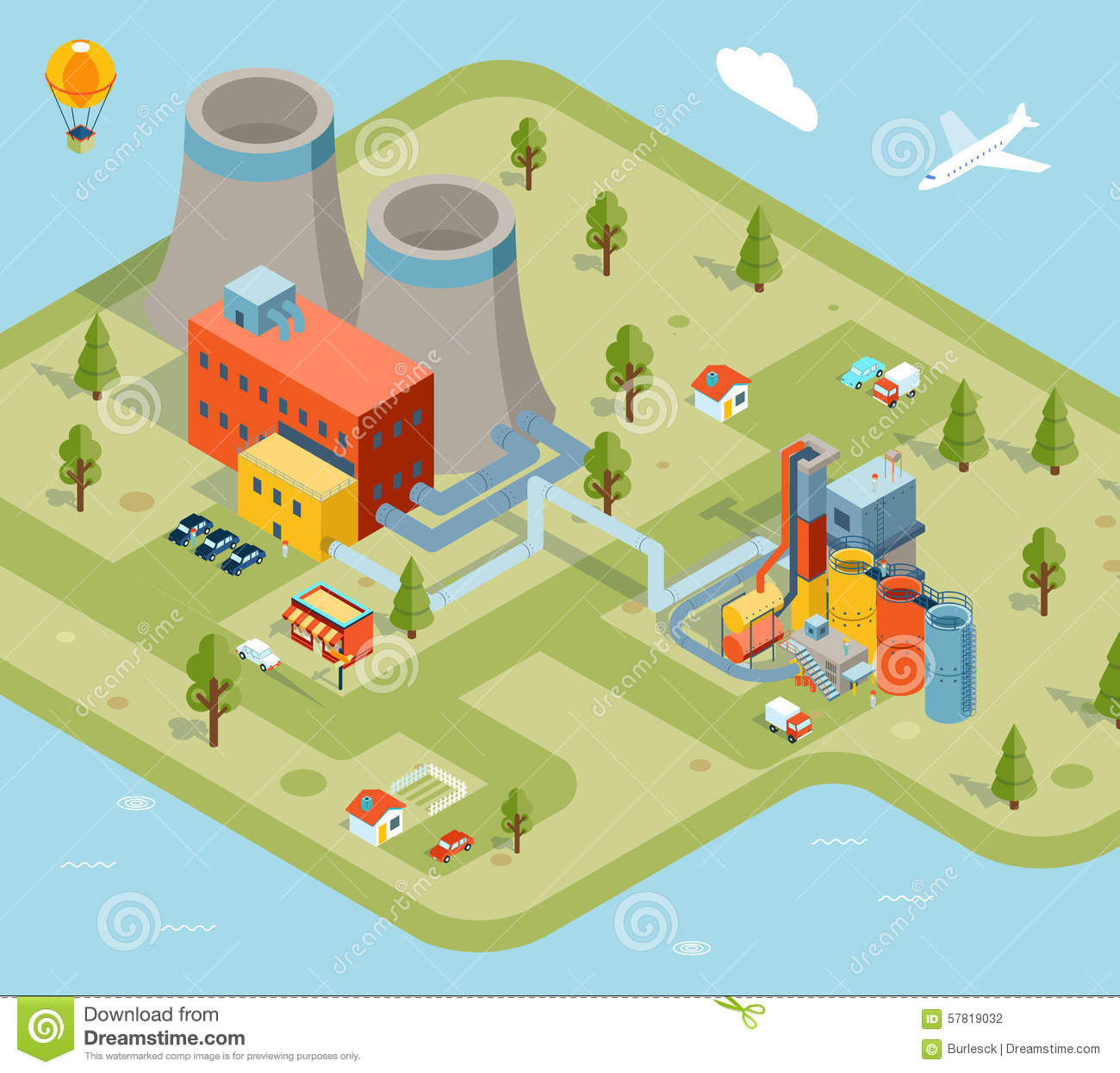 Picture Book Illustration Making An Architectural Model: Vector Flat 3d Isometric Factory Stock Vector