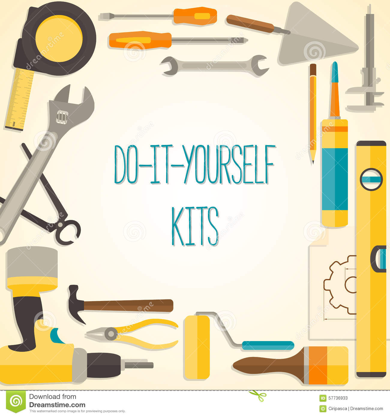 Do It Yourself Home Design: Vector Flat Design Background With Do-it-yourself Stock