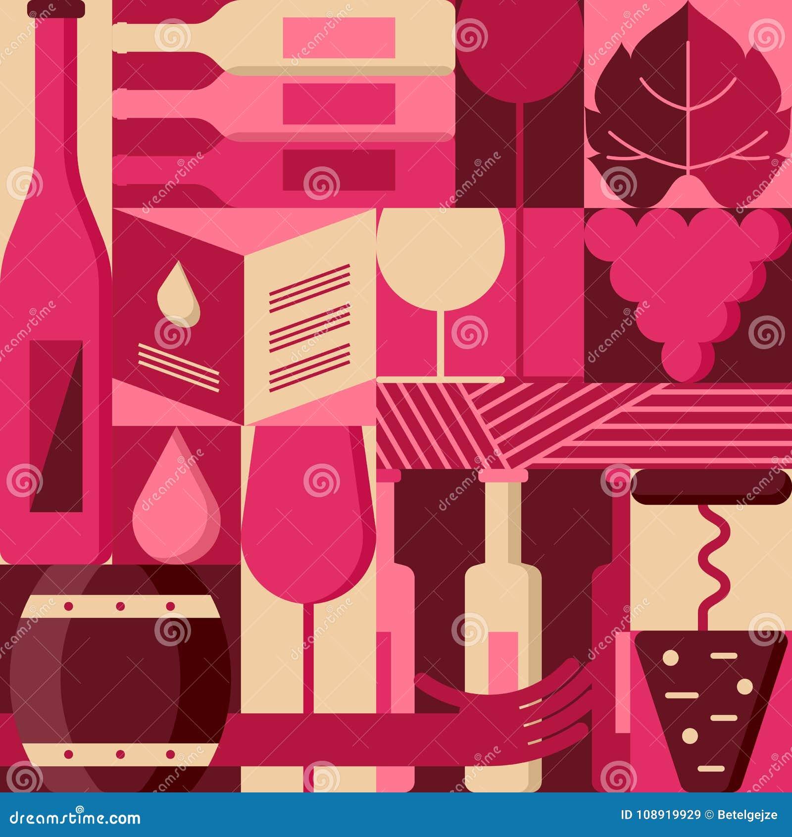 vector flat design elements for wine list, label, packaging, bar