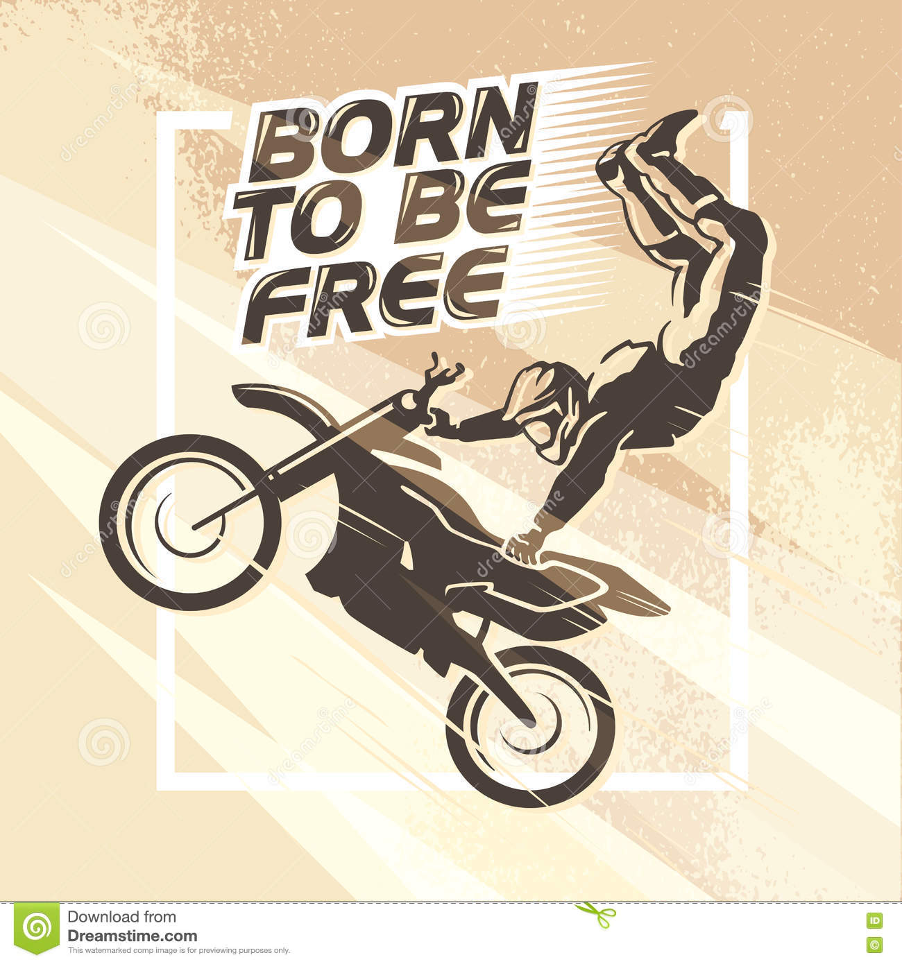 Motofree vector flat dynamic extreme sport illustration with moto free style