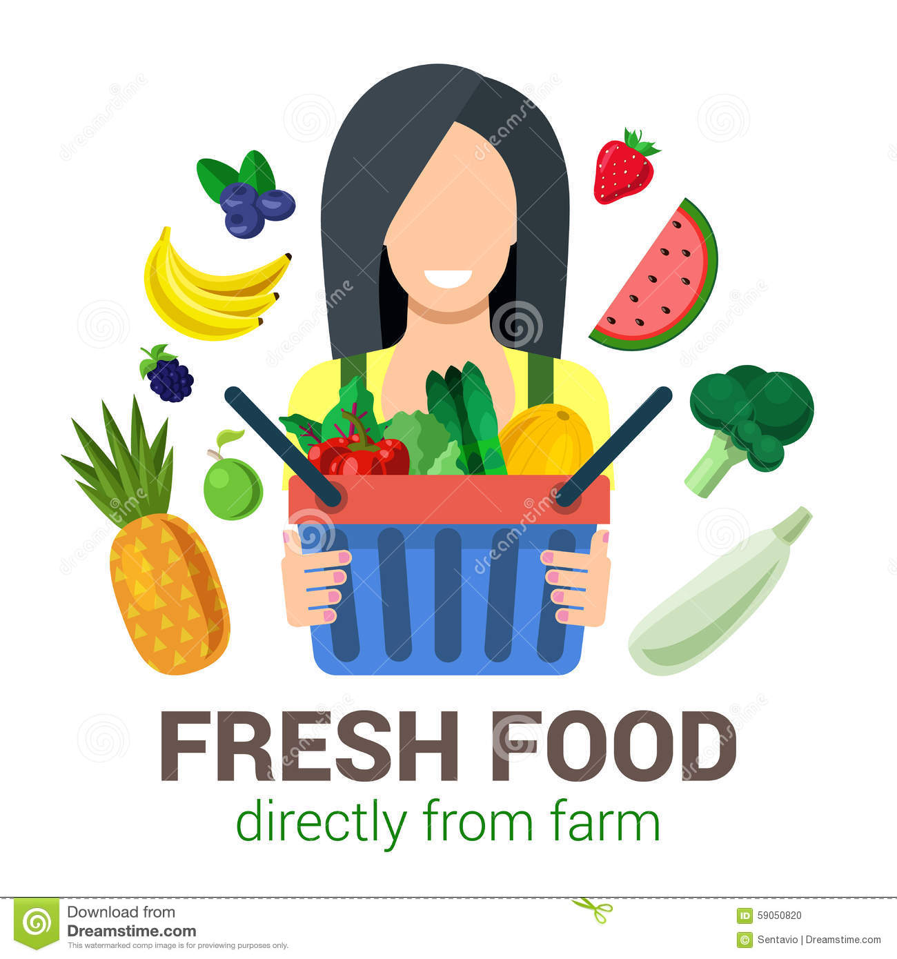 Vector Flat Eco Food From Farm: Agriculture Logo Stock Vector - Image: 59050820